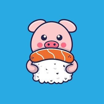 Süßes schwein umarmt sushi-cartoon-illustration