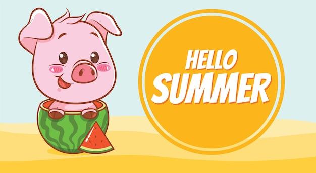 Süßes schwein und wassermelone mit einem sommergrußbanner