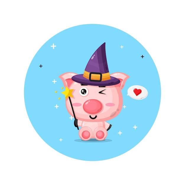 Süßes schwein wird zu hexen