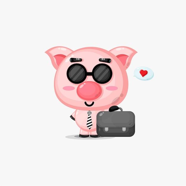 Süßes schwein zur arbeit gehen