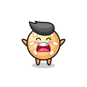 Süßes sesamball-maskottchen mit einem gähnen-ausdruck, süßes stildesign für t-shirt, aufkleber, logo-element