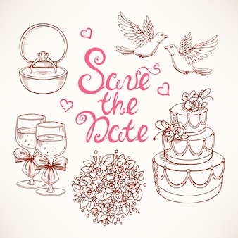 Süßes set für eine hochzeit mit ein paar tauben, hochzeitstorte und blumenstrauß. handgezeichnete illustrationen.