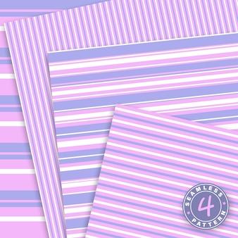 Süßes set. streifen nahtloses muster. rosa, violette farben. papierset.