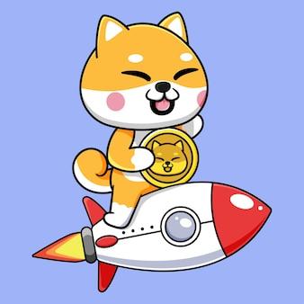 Süßes shiba inu mit dogecoin und fliegender rakete