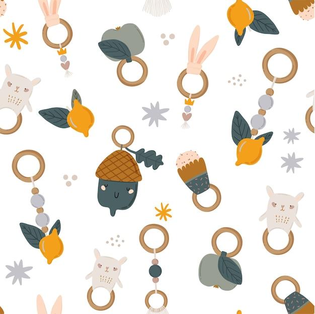 Süßes skandinavisches nahtloses muster der kinder mit lustigen tieren, mobiles kinderspielzeug