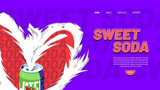 Süßes soda-banner-design von kohlensäurehaltigem getränk mit fruchtsaft