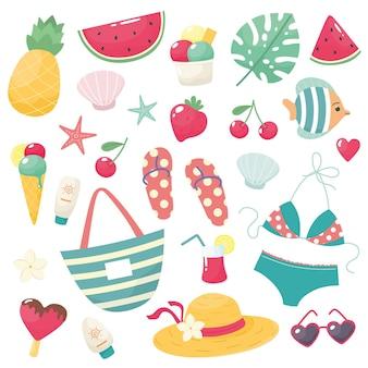 Süßes sommerset mit bikini flip flops früchte eis blumen muscheln brille hut handtasche