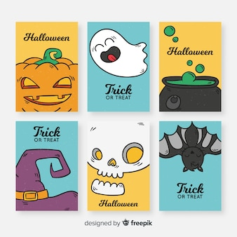 Süßes sonst gibt's saures halloween-kartensammlung im flachen design