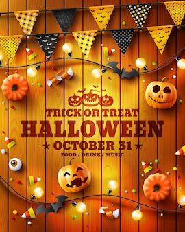 Süßes sonst gibt's saures halloween-partyplakat, -flieger oder -einladung