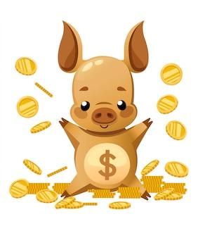 Süßes sparschwein. zeichentrickfigur . kleines schwein spielt mit goldmünze. fallende münzen. illustration auf weißem hintergrund