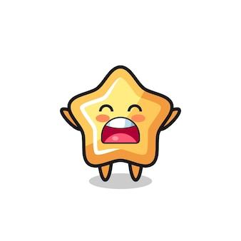 Süßes sternmaskottchen mit gähnen-ausdruck, süßes stildesign für t-shirt, aufkleber, logo-element