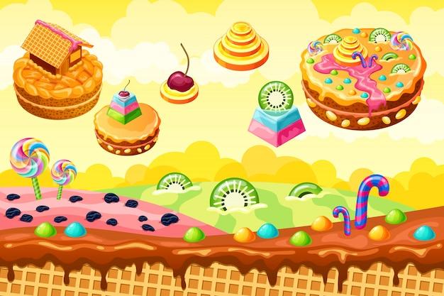 Süßes süßigkeitenland. cartoon spiel illustration