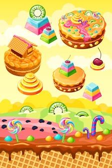Süßes süßigkeitenland. cartoon spiel illustration.