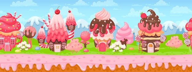 Süßes süßigkeitenland nahtloses panorama für spielhintergrund. cartoon magische welt mit kuchenhäusern, rosa creme und karamellbäumen vektorlandschaft. geschmolzener schokoladenbelag, häuser mit cremigem dach