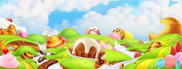 Süßes süßigkeitenland. panoramalandschaftshintergrund