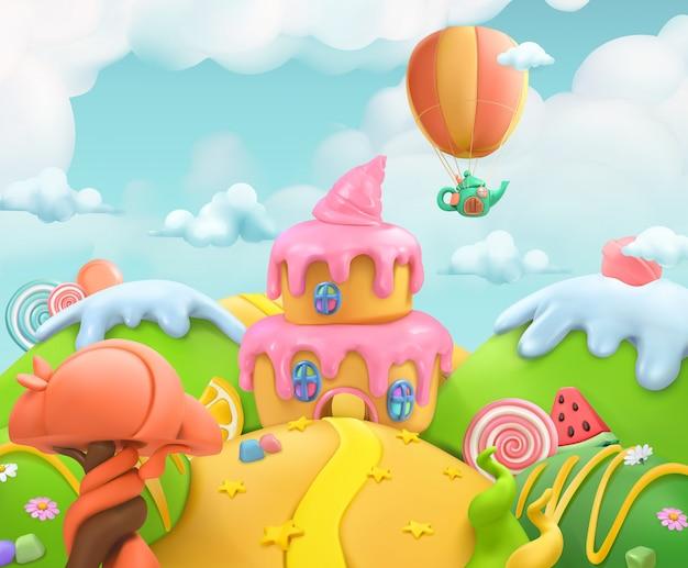 Süßes süßigkeitenland, vektor-plastilin-kunstillustration