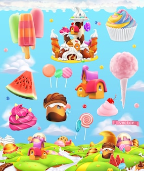 Süßes süßigkeitenlandillustrationsset