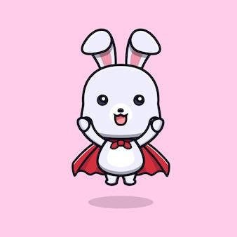 Süßes superkaninchen mit gewandtier-maskottchen-charakter