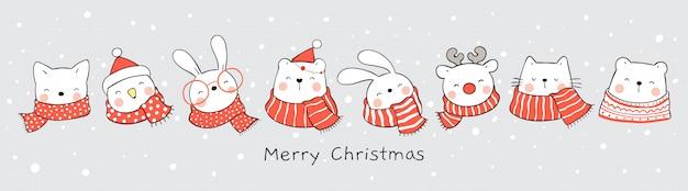 Süßes tier im schnee für weihnachten und neujahr.
