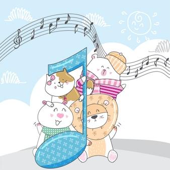 Süßes tier mit musikmelodien