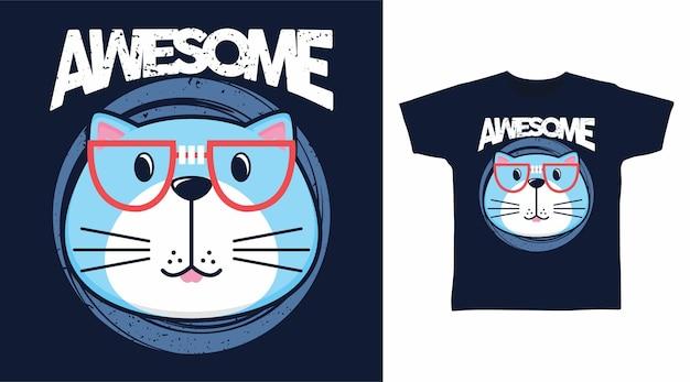 Süßes tolles katzen-t-shirt-design