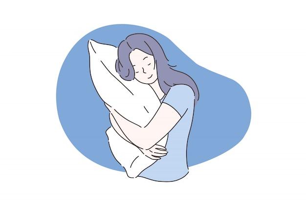 Süßes traum- oder schlafkonzept.