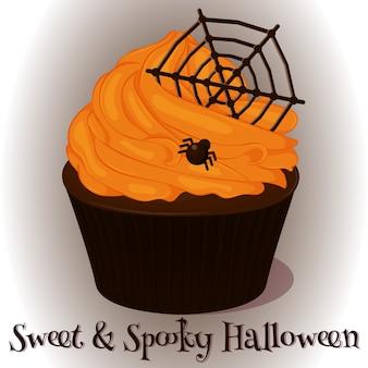 Süßes und gespenstisches cupcake mit schokoladennetz