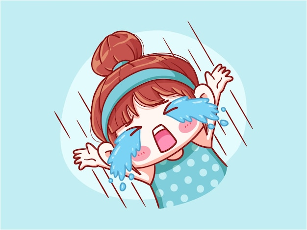 Süßes und kawaii mädchen, das lautes manga chibi schreit