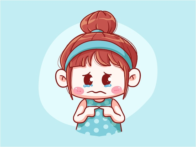 Süßes und kawaii mädchen weint und fühlt sich schuldig chibi