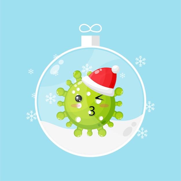 Süßes virus in einer schneekugel