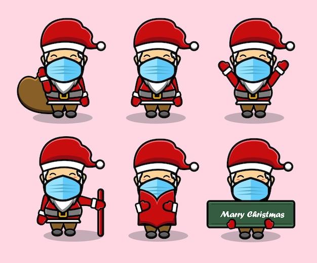 Süßes weihnachtsmann-maskottchen-cartoon-set