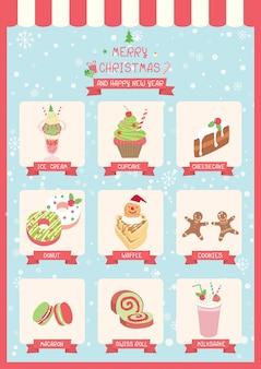 Süßes weihnachtsmenü-café