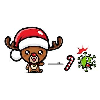 Süßes weihnachtsrentier gegen virus