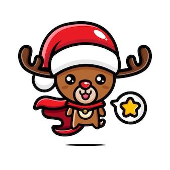 Süßes weihnachtsrentier ist ein superheld