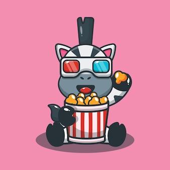 Süßes zebra, das popcorn isst und einen 3d-film ansieht