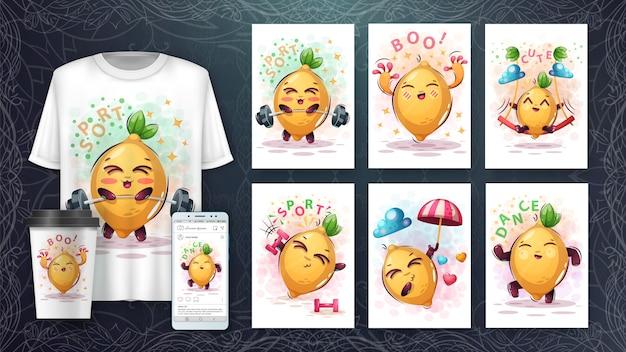 Süßes zitronenplakat und merchandising
