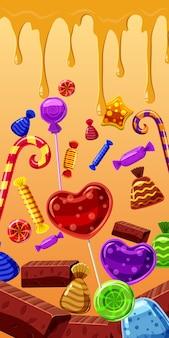 Süßigkeiten backen vertikalen hintergrund zusammen
