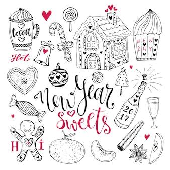 Süßigkeiten des neuen jahres eingestellt. weihnachtshand gezeichnete sammlung mit kakao, lebkuchenhaus und champagner