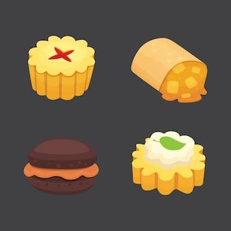 Süßigkeiten desserts objekte sammlung, erdbeerkuchen, obst und beeren süße kuchen mit sahne. hausgemachte bäckerei kuchen dessert torte set.