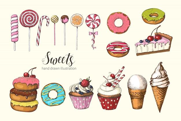 Süßigkeiten. handgezeichnete donuts, lutscher, eis, kuchen und cupcakes. skizze, schriftzug.
