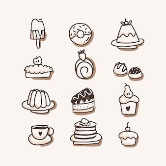 Süßigkeiten icon set. hand zeichnen