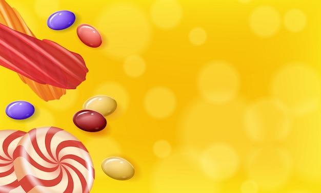 Süßigkeiten in verschiedenen formen auf