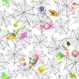 Süßigkeiten, kuchen, aquarell musterdesign, hintergrund und spinnweben. für den halloween-urlaub
