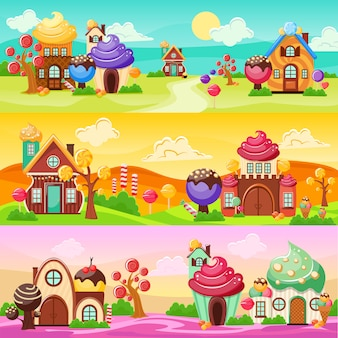 Süßigkeiten landschaft banner set