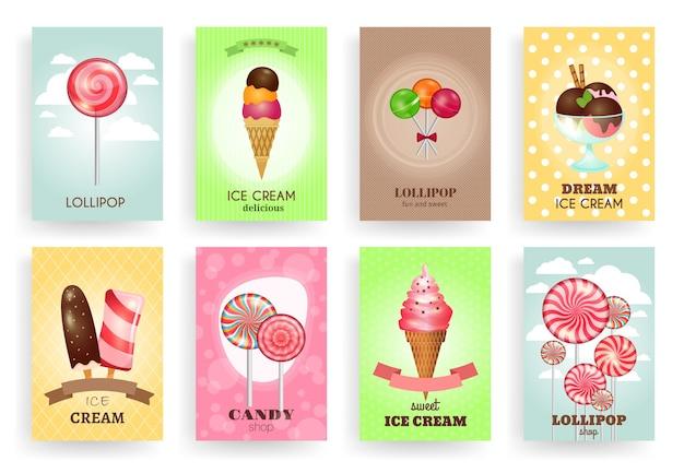 Süßigkeiten, lutscher und eis. broschürenvorlagen festgelegt. dessert und süßigkeiten, sahne und schokolade, design lecker lecker