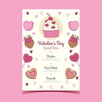 Süßigkeiten-menü zum valentinstag
