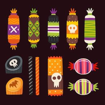 Süßigkeiten mit halloween-elementen verziert. vektor-bonbonikonen