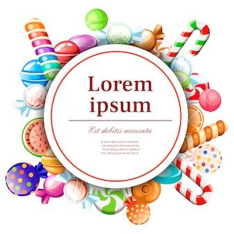 Süßigkeiten muster. rundes kartendesign. konzept für karte und werbung. eingewickelt und nicht lutscher, zuckerrohr, süßigkeiten. süße glänzende süßigkeiten. illustration auf weißem hintergrund.