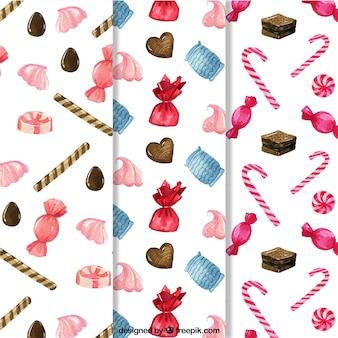 Süßigkeiten muster sammlung in aquarell-stil