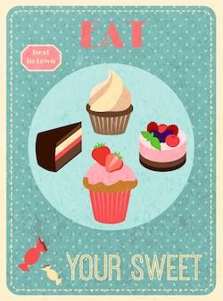 Süßigkeiten retro-plakat